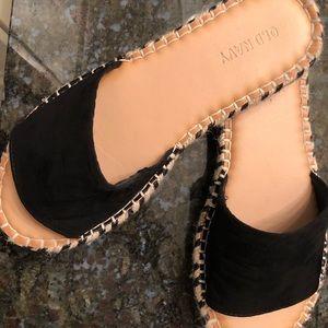 Faux-suede slide espadrille sandals